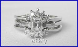 Vintage 14k White Gold Diamond Wedding Ring Wrap Insert Jacket EnhancerSz 8.25