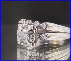 Vintage 14k White Gold & Diamonds Engagement/Wedding/Anniversary Ring/Band Set