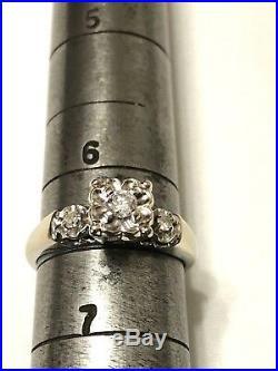 Vintage 14k White Gold ENCORE Diamond Engagement & Wedding Ring Set-Size 6 1/2