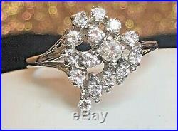 Vintage 14k White Gold Natural Diamond Ring Cluster Heart Engagement Wedding