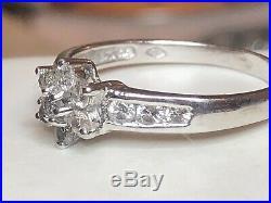Vintage 14k White Gold Natural Diamond Ring Flower Halo Engagement Wedding
