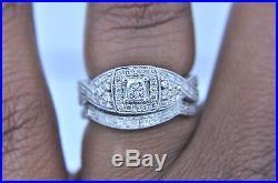 Vintage 14k White Gold Princess Cut Diamond Halo Wedding Engagement Ring Set