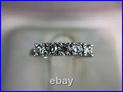 Vintage 14k White Gold Round Brilliant Diamond Wedding Band Ring 1/2 ct