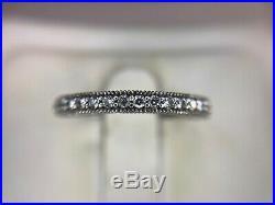 Vintage 14k White Gold Round Diamond Engraved Wedding Band Ring 1/3 ct