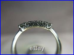Vintage 14k White Gold Round Single Cut Diamond Wedding Band Ring 1/5 ct