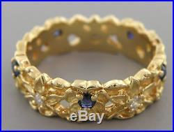 Vintage 14k Yellow Gold Diamond Blue Sapphire Ring Wedding Band Eternity Flower