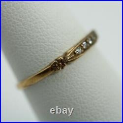 Vintage 14k Yellow Gold Diamond Wedding Band Ring size 6 Stacking Band