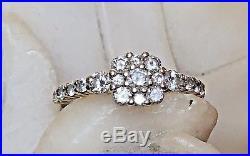 Vintage 14k Yellow Gold Genuine Natural Diamond Engagement Ring Flower Wedding