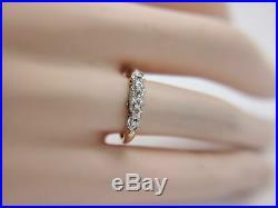 Vintage 14k Yellow Gold Natural Single Cut Diamond Wedding Band Ring