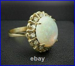 Vintage 14k Yellow Gold Over 2.20Ct Oval Cut Fire Opal Pretty Halo Cocktail Ring