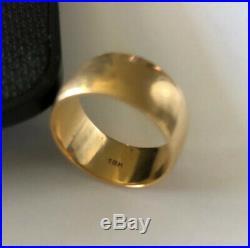 Vintage 18k Solid Gold 13mm Wide Cigar Band Wedding Ring Unisex Heavy 11.9g Sz 9