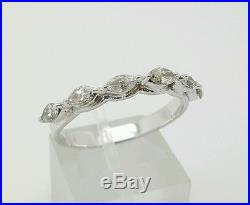 Vintage 18k White Gold 0.84 Ct Genuine Marquise Diamond Wedding/Anniversary Ring