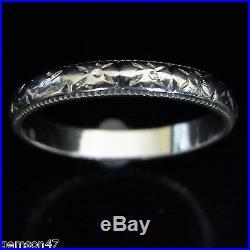 Vintage 18k White Gold Engraving Wedding Band Anniversary Ring Estate Art Deco