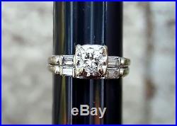 Vintage 1940s 14k white gold diamond wedding ring set baguette round band