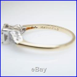 Vintage 1940s Style 0.28CTW Diamond Engagement Ring & Wedding Band Bridal Set