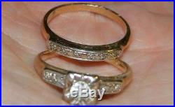 Vintage 1950's 14KT Yellow Gold Round Diamond Engagement Ring Wedding Band Set