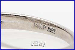 Vintage 1950s Signed. 75ct 5 Stone Diamond 14k White Gold Wedding Band Ring