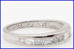 Vintage 1960s. 75ct VS G Baguette Round Diamond Platinum Wedding Band Ring
