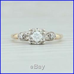 Vintage. 19ctw Diamond Engagement Ring & Wedding Band Set 14k Gold Size 4.75