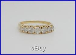 Vintage 1CT 7 Stone Diamond Anniversary Wedding Band Ring 14K Yellow Gold