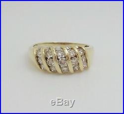 Vintage 1CT Diamond Anniversary Wedding Band Ring 10K Yellow Gold