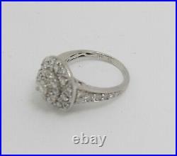 Vintage 1CT Diamond Halo Solitaire Engagement Wedding Bridal Ring 14K White Gold