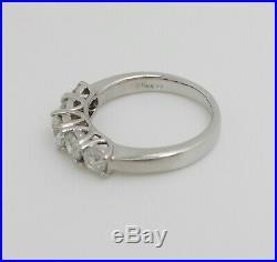 Vintage 1CT Diamond Shared Prong Anniversary Wedding Band Ring 14K White Gold