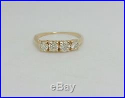 Vintage 1CT Diamond Shared Prong Anniversary Wedding Band Ring 14K Yellow Gold