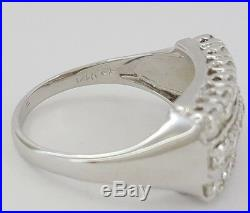 Vintage 1.28 ct 14K White Gold 3 Row Round Diamond Wedding / Anniversary Ring