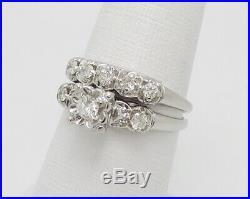 Vintage 1/2CT Diamond Engagement Wedding Bridal Set Ring 14K White Gold
