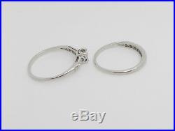 Vintage 1/2CT Diamond Engagement Wedding Ring Bridal Set 18K White Gold