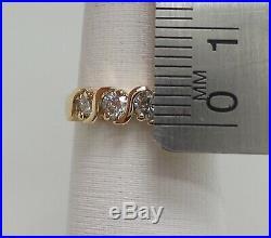 Vintage 1/2CT Diamond Shared Prong Anniversary Wedding Band Ring 14K Yellow Gold