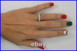 Vintage 1/2CT Diamond Shared Prong Anniversary Wedding Band Ring 18K White Gold