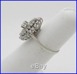 Vintage 1/2CT Diamond Solitaire Engagement Wedding Bridal Ring 18K White Gold