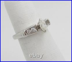 Vintage 1/2CT Marquise Diamond Engagement Wedding Bridal Ring 14K White Gold