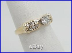 Vintage 1/2CT Round Diamond Engagement Wedding Bridal Ring 14K Yellow Gold