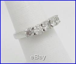 Vintage 1.50CT Diamond Shared Prong Anniversary Wedding Band Ring 14K White Gold