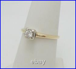 Vintage 1/5CT Round Diamond Solitaire Engagement Wedding Ring 14K Yellow Gold