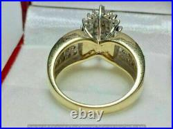 Vintage 1ct Round Diamond 10k Yellow Gold Over Cluster Engagement Cocktail Ring