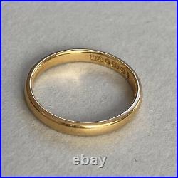 Vintage 22ct Gold Wedding Band Ring 1955 Size J 2.38g