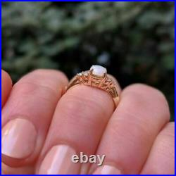Vintage 2Ct Opal & Round Brilliant Diamond 14K White Gold Over Engagement Ring