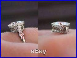 Vintage 2.25Ct Diamond 14K White Gold Fn Unique Art Deco Engagement Wedding Ring