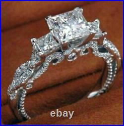 Vintage 2.79Ct Princess Diamond Engagement Wedding 3 Stone Ring In14k White Gold