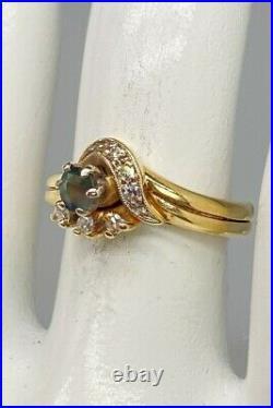 Vintage $3000.65ct Natural Alexandrite Diamond 14k Yellow Gold Wedding Ring SET