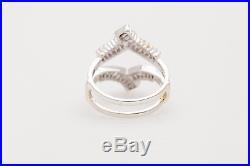 Vintage $3400 1.25ct Baguette Diamond 14k White Gold Wedding Ring GUARD WRAP