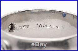 Vintage $3400 1ct Natural Blue Sapphire 6mm Platinum Wedding Band Ring HEAVY