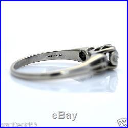 Vintage. 35ct Diamond Wedding Engagement Ring 14k White Gold Sz 6.25 Gift Boxed