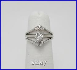Vintage 3/8CT Diamond Engagement Wedding Bridal Ring Set 14K White Gold