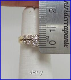 Vintage 3/8CT Diamond Engagement Wedding Bridal Set Ring 14K Yellow Gold