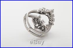 Vintage $4000 1ct VS H Diamond 14k White Gold Wedding Ring Guard Wrap NICE